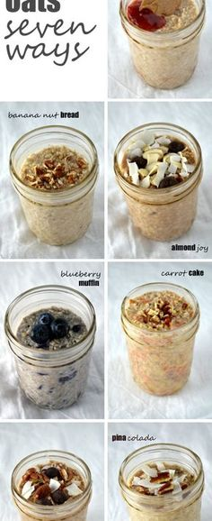 Healthy Fit Overnight Oats Seven Ways -- a week's worth of healthy, filling breakfasts in no time! - Overnight oats are an incredibly simple, delicious and completely customizable breakfast on the go, and these are my seven favorite ways to eat it! Breakfast Desayunos, Breakfast Recipes, Breakfast Healthy, Overnight Breakfast, Healthy Overnight Oats, Vegan Oats Breakfast, Overnight Steel Cut Oats, Overnight Oats In A Jar, Blueberry Overnight Oats