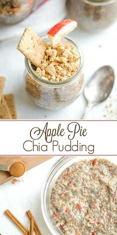 A super-fast, make-ahead breakfast you can whip up the night before! So great for meal prep, grab-and-go breakfasts all week long! Loaded with juicy, sweet-tart apples, cozy cinnamon, and graham cracker crumbles for that pie crust vibe. Yum! Decadent Apple Pie flavors you'll crave for a healthy dessert recipe, too! | chia seed pudding | chia seed recipes | chia pudding recipes | chia seeds | breakfast ideas healthy | breakfast recipes | meal prep recipes | TwoHealthyKitchens.com