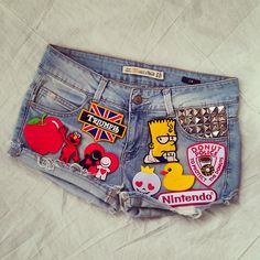 Reworked Vintage ZARA Denim Shorts with Patches by KodChaPhorn