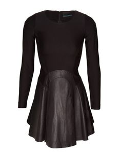 Leather Skirted Swing Dress by Cynthia Rowley... actually perfect! Would wear this to the office, drinks with friends, even hike up the glam factor with some seriously glitzy necklaces and a pair of skyscrapers and you've got a night out dress!