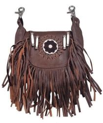 Brown leather double fringe and beaded hip clip pouch bag. Clips on to your belt.