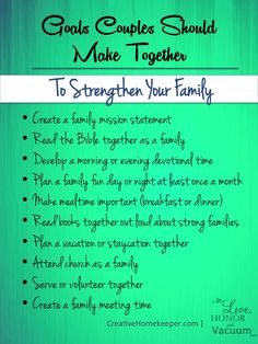 Setting Goals as a Couple: To Strengthen Your Family