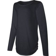 Hanes Girls' Long Sleeve Shirttail T-shirt, Size: Large, Black