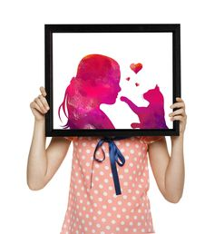 Girl with cat prints, Girls room decor, Pink watercolor, Love art, Large poster, Nursery decor, Kids room wall art, Instant download Nursery Art, Nursery Decor, Room Decor, Modern Girls Rooms, Family Wall Decor, Kids Room Wall Art, Watercolor Cat, Large Wall Art, Cat Art