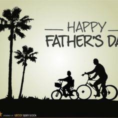 Pai e filho andar de bicicleta