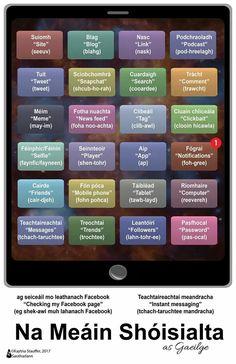Na Meáin Shoisialta - Social Media Class Rules Poster, Scottish Words, Gaelic Words, Social Media Poster, Irish Language, Speaking In Tongues, Irish Landscape, Creative Writing, Teaching Resources