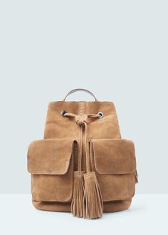 Pocket suede backpack - Bags for Woman | MANGO