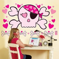 Pink Skull Giant Wall Decals, 58703