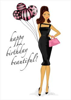 Birthday Balloons Card - a fabulous fashion art illustration card for a fabulous birthday wish.