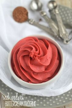 This Red Velvet Buttercream Frosting is rich, delicious, and perfect to top a cupcake . . . or spoon