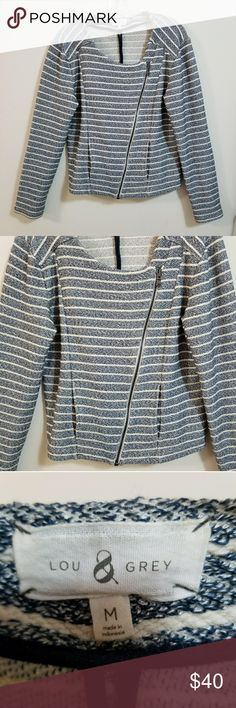 """Lou & Grey Speckled Striped Moto Jacket Medium Great condition  Chest 20"""" Sleeves 25"""" Length shoulder to hem 22""""  My home is smoke free and pet free. Lou & Grey Jackets & Coats"""