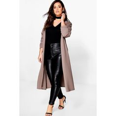 Boohoo Plus Bella Waterfall Duster Coat ($40) ❤ liked on Polyvore featuring outerwear, coats, longline duster coat, mac coat, white waterfall coat, white coat and padded coat
