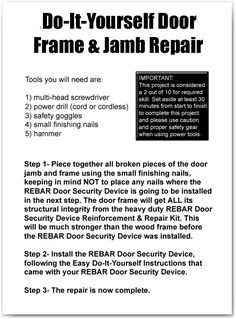 rebar doordoor securitydoor framesframe repairkit