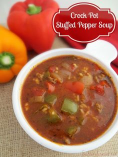 If you love bell peppers, rice and ground beef then you are sure to love this delicious Crock Pot Stuffed Pepper Soup!