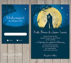 Romantic Moon Night Wedding Invitation Printable DIY   Summer Spring Wedding   Bride & Groom Kissing   Starry night invitation