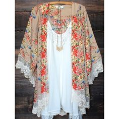 Beige Floral Print Lace 3/4 Sleeve Lace Fringe Cardigan Boho Beach... ❤ liked on Polyvore featuring swimwear, cover-ups, beach cover up kimono, chiffon beach cover up, swim cover up, lace swim cover up and floral kimono