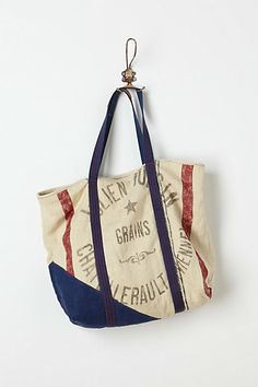 """Love this """"vintage inspired"""" tote - if it was actually an old grain sack, I'd have purchased it by now!"""