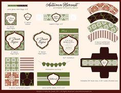 Autumn Thanksgiving - Printable Party Dessert Table Decorations - FULL SET. $25.00, via Etsy.