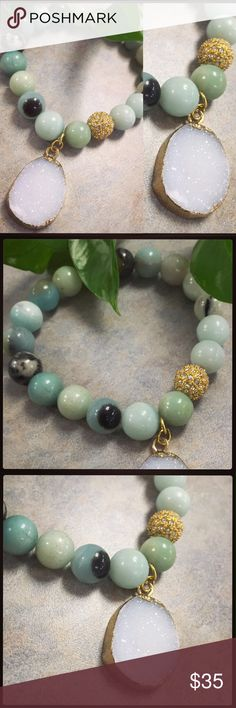 "Turquoise & Druzy Bracelet - Handmade!! Gorgeous, genuine African turquoise stretch bracelet with a gold-edged, natural druzy pendant. Accented with a gold pave crystal, this bracelet fits a 7-8"" wrist comfortably. Jewelry Bracelets"