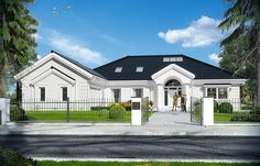 Rezydencja Parkowa 3 on Behance Modern Bungalow House, Bungalow House Plans, Best Modern House Design, Beautiful House Plans, Mediterranean House Plans, Home Design Floor Plans, American Houses, Architecture Plan, House Front