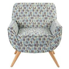 Dunelm Mill's Skandi Retro Leaf armchair and footstool offers midcentury-style seating and an attractive midcentury-style pattern to Sofa Design, Mid Century Modern Furniture, Modern Style Furniture, Sofas And Chairs, Bedroom Furniture, Retro Interior, Dunelm, Armchair, Furniture Styles