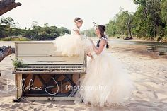 Matching Soft Apricot mother and daughter tutus worn with white/cream top and floral crown