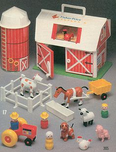 Fisher Price Farm.  The moo-ing barn door!  -- i remember the Christmas I got this.  Can't wait for my kido to play with it.