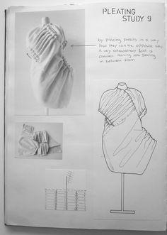 Fashion Sketchbook exploring fabric manipulation with experimental pleat structures - fashion design development; fashion portfolio // Rosa Kramer
