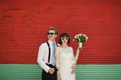 cool bride with bangs and a bob