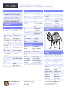 """Perl Reference Card Cheat Sheet by mishin <a href=""""http://www.cheatography.com/mishin/cheat-sheets/perl-reference-card/"""" rel=""""nofollow"""" target=""""_blank"""">www.cheatography....</a> <a class=""""pintag searchlink"""" data-query=""""%23cheatsheet"""" data-type=""""hashtag"""" href=""""/search/?q=%23cheatsheet&rs=hashtag"""" rel=""""nofollow"""" title=""""#cheatsheet search Pinterest"""">#cheatsheet</a> <a class=""""pintag searchlink"""" data-query=""""%23development"""" data-type=""""hashtag"""" href=""""/search/?q=%23development&rs=hashtag"""" rel=""""nofollow"""" title=""""#development search Pinterest"""">#development</a> <a class=""""pintag searchlink"""" data-query=""""%23regex"""" data-type=""""hashtag"""" href=""""/search/?q=%23regex&rs=hashtag"""" rel=""""nofollow"""" title=""""#regex search Pinterest"""">#regex</a> <a class=""""pintag"""" href=""""/explore/programming/"""" title=""""#programming explore Pinterest"""">#programming</a> <a class=""""pintag searchlink"""" data-query=""""%23perl"""" data-type=""""hashtag"""" href=""""/search/?q=%23perl&rs=hashtag"""" rel=""""nofollow"""" title=""""#perl search Pinterest"""">#perl</a>"""