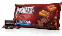MINIATURES Special Dark Assortment: Enjoy bite-size goodness without a candy shell and without the mess. A LOT OF HERSHEY'S HAPPINESS IN A LITTLE DROP.