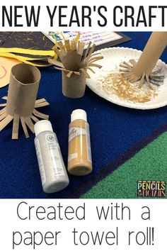 These fun New Year's Eve resolution crafts for preschool, kindergarten, or first grade students will help your students understand what setting a resolution is all about! Your students will love using a paper towel roll to create the fireworks! #newyearseve #kindergarten #preschool #firstgrade #crafts