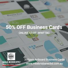 Half off business cards online exclusive code wwftbc order get 50 off 350gsm business card now when you order online with mbe brisbane cbd reheart Images