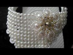 #Ducel Campos/ TRAMANDO DIRETO NA CORREIA/ Modo prático - YouTube Beaded Lace, Beaded Jewelry, Beaded Bracelets Tutorial, Bling Shoes, Beaded Purses, Wedding Bracelet, Beading Tutorials, Bridal Earrings, Crystal Pendant
