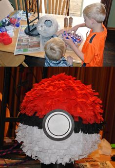 Pokemon Pokeball Pinata - I put Easter grass inside to lighten it up as this one was huge and held too many pounds of candy.