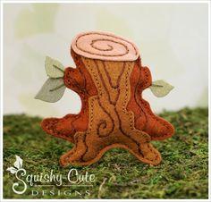 Free tree stump sewing pattern - woodland sewing pattern - autumn ornament, woodland mobile.  Free kids sewing pattern, felt forest plushie