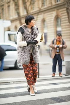 Statement fur on top and bottom #streetstyle