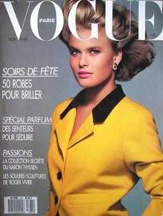 Vogue Paris November 1987 (Cover)  Model: Vendela Kirsebom  Photographer: Patrick Demarchelier  http://supermodelobsession.tumblr.com