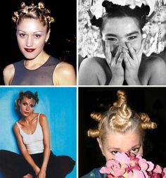 """Tiny Buns - There are probably still some new-age yoga instructors that still sport this style, but these so-called """"hair turds"""" probably hit their peak of popularity at Lilith Fair '97. Tiny Buns - There are probably still some new-age yoga instructors that still sport this style, but these so-called """"hair turds"""" probably hit their peak of popularity at Lilith Fair '97."""