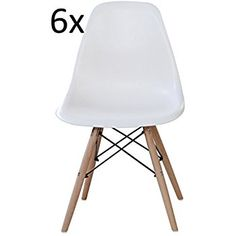 Set of 6 Charles & Ray Eames Style Replica DSW Eiffel Dining Lounge Chair (White) x 6 by Mmilo: Amazon.co.uk: Kitchen & Home
