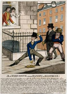 1819 Illustration poking fun at the tight pants worn by dandies.