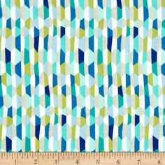 Designed by Patty Sloniger for Michael Miller, this cotton print fabric is perfect for quilting, craft projects, apparel and home decor accents. Colors include shades of blue, lime green, white and sand.