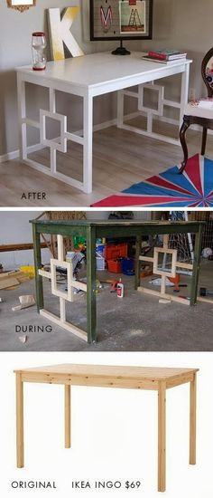 Could Do Something Like This To The SecretaryDIY   IKEA HACK Ikea Ingo  Dining Table Desk Makeover. Full Step By Step Tutorial.