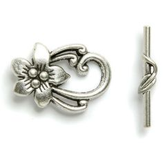 Toggle clasp antique SP flower 20x30mm - Such a pretty clasp :)
