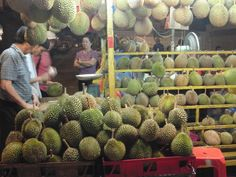 The Durian is a prickly fruit with a sickly smell...doesn't sound appetizing? In Asia durian are savored like vintage wines...pinch your nose and immerse yourself in the world of durian!