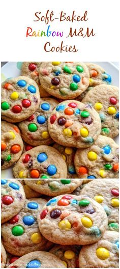 An absolute cookie jar favorite! Soft-Baked and ultra chewy Rainbow M&M Cookies. Use valentine m&ms for class cookies.