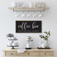 Coffee sign coffee bar brewed fresh daily self serve sign wood sign farmhouse kitchen decor farmhouse wall decor kitchen sign Coffee Bar Home, Coffee Corner, Coffee Bar Ideas, Coffee Nook, Home Coffee Stations, Kitchen Coffee Bars, Coffee Bar Station, Interior Modern, Home Interior