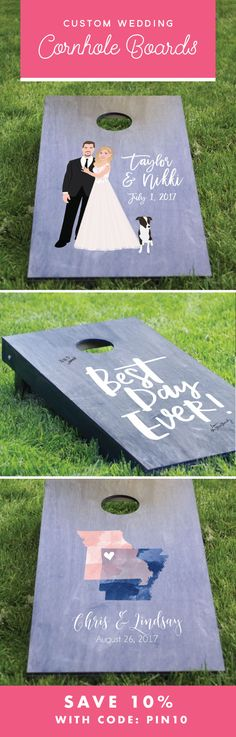 Your outdoor wedding just got SO MUCH cooler with these custom illustrated cornhole boards for your reception!