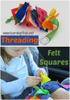 Threading felt squares - great fine motor activity - so simple to make Kids Travel Activities, Road Trip Activities, Fine Motor Activities For Kids, Infant Activities, Preschool Activities, Felt Squares, Toddler Car, Creative Play, Kids Playing