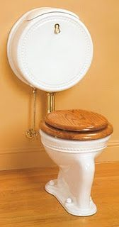 """Sunrise Specialty makes fine Antique style plumbing, and this new Pillbox Water Closet is one of their unique creations. This watercloset got its name """"Pill"""" for its unusual tank. Victorian Bathroom, Vintage Bathrooms, Victorian Decor, Sink Design, Toilet Design, Bathroom Sets, Bathroom Fixtures, Victorian Urinals, 1800s Home"""